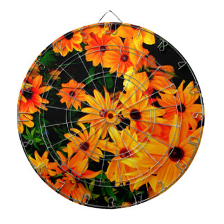 Beautiful vibrant yellow and orange flowers dartboard with darts