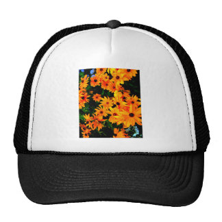 Beautiful vibrant yellow and orange flowers trucker hat