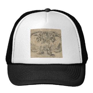 beautiful victorian design on burlap trucker hat