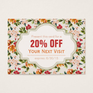 Beautiful Victorian Floral Discount Coupon Gift Business Card
