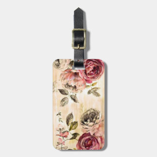 Beautiful Victorian Floral Painting Bag Tag