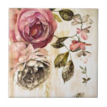 """Beautiful Victorian Floral Painting Tile<br><div class=""""desc"""">This is a gorgeous vintage painting or floral study from the Victorian era.  The cabbage roses are so realistic and with the warmer background tones,  it truly has an old world style or feel.</div>"""