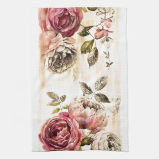 Cabbage Roses Kitchen Towels | Zazzle