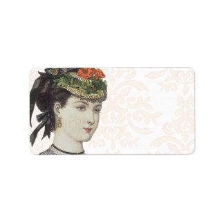 Beautiful Victorian Lady - Damask Background Personalized Address Labels