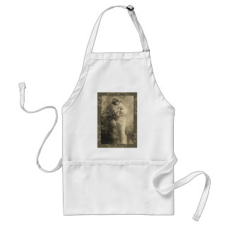 Beautiful Victorian Lady with cut flowers Adult Apron