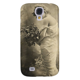 Beautiful Victorian Lady with cut flowers Galaxy S4 Covers