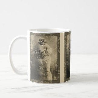 Beautiful Victorian Lady with cut flowers Coffee Mug