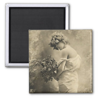 Beautiful Victorian Lady with cut flowers Magnet