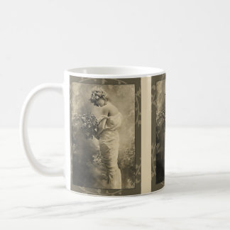 Beautiful Victorian Lady with cut flowers Mugs