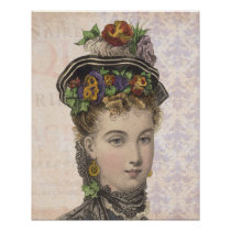 Beautiful Victorian Woman with Pansies in Hat Poster