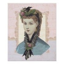 Beautiful Victorian Woman with Rose in Hair Poster