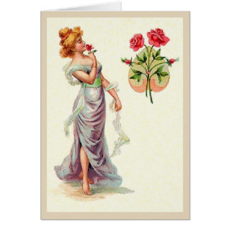 Beautiful Victorian Woman With Roses Note Card