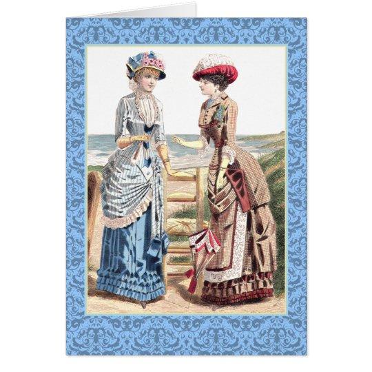 Beautiful Victorian Women at the Beach Card