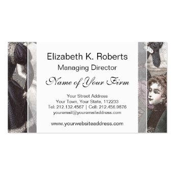Beautiful Victorian Women in Long Vintage Dresses Business Card Templates