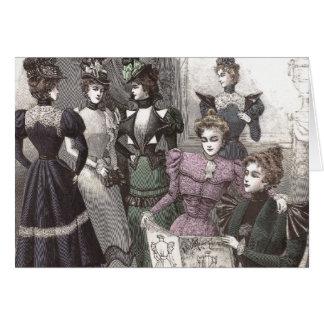 Beautiful Victorian Women in Long Vintage Dresses Card