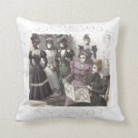 Beautiful Victorian Women in Long Vintage Dresses Pillows