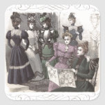 Beautiful Victorian Women in Long Vintage Dresses Square Sticker