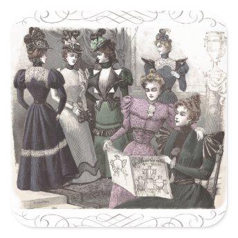 Beautiful Victorian Women in Long Vintage Dresses Sticker