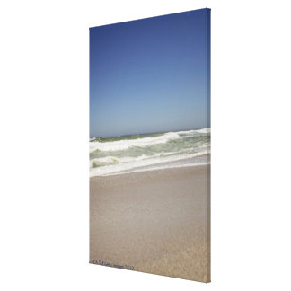 Beautiful view of beach against clear sky 3 canvas print