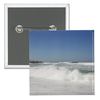 Beautiful view of beach against clear sky pinback button