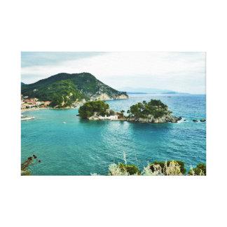 Beautiful view of Parga islet, Greece Canvas Print