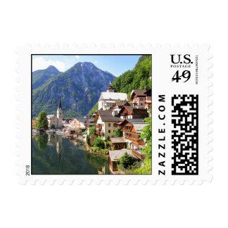 beautiful village in Austria - Hallstatt Postage Stamp
