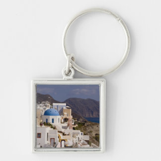 Beautiful village of Oia with white buildings Keychain