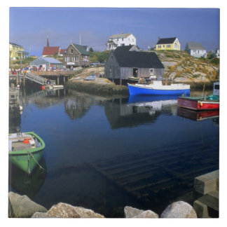 Beautiful village of Peggy's Cove with harbor Ceramic Tile