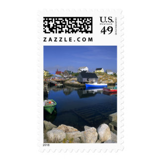 Beautiful village of Peggy's Cove with harbor Stamp