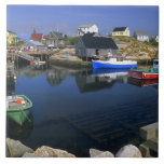 Beautiful village of Peggy's Cove with harbor Tile
