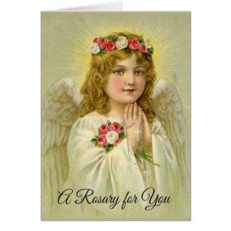 Beautiful Vintage Angel Praying Rosary Card