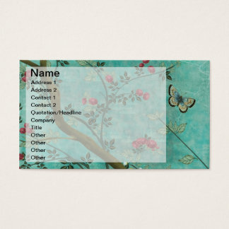 Beautiful vintage antique blossom tree butterflies business card