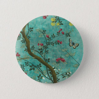 Beautiful vintage antique blossom tree butterflies button