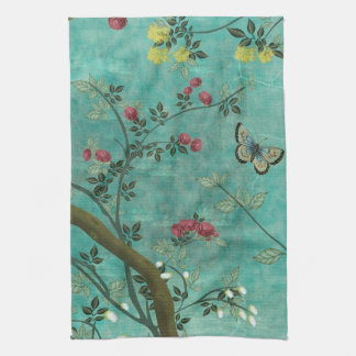 Beautiful vintage antique blossom tree butterflies kitchen towel