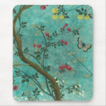 Beautiful vintage antique blossom tree butterflies mouse pad