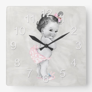 Beautiful Vintage Baby Girl Square Wall Clock
