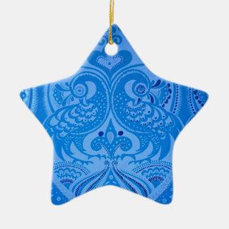 beautiful vintage birds blue pattern image print ceramic ornament