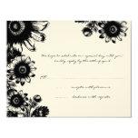 Beautiful Vintage Black Flower Wedding RSVP Card Announcement