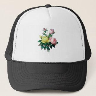 beautiful vintage botanical illustration, rose trucker hat
