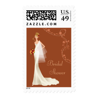 Beautiful Vintage Bridal Shower Postage Stamps