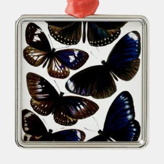 Beautiful vintage butterflies picture pattern metal ornament