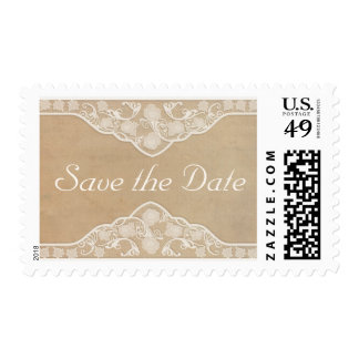 Beautiful Vintage Canvas & Lace Look Save the Date Postage