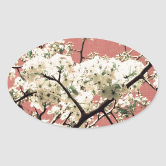 Beautiful Vintage Cherry Blossom Oval Sticker
