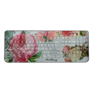 Beautiful Vintage Chic Floral Rose Personalized Wireless Keyboard