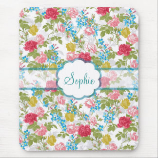 Beautiful vintage chic trendy roses floral pattern mouse pads