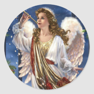 Beautiful Vintage Christmas Angel Classic Round Sticker