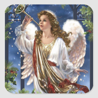 Beautiful Vintage Christmas Angel Square Sticker