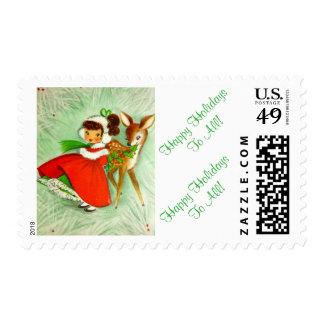 Beautiful Vintage Christmas Deer & Little Girl Postage Stamp