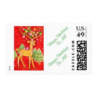 Beautiful Vintage Christmas Deer & Little Girl Stamp