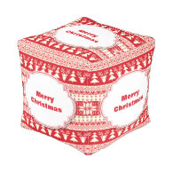 Beautiful Vintage Christmas pattern in red Cube Pouf
